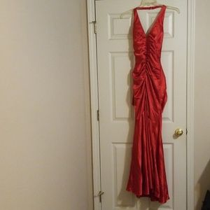 Red satin morgan and co dress